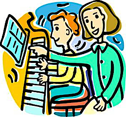 Cartoon of pianist and teacher pointing at the music