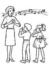 cartoon of a singing teacher with pupils
