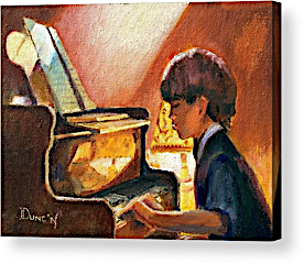 A painting by Bob Duncan of a young pianist struggling with sight reading