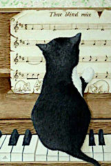Cartoon of a cat sitting at the piano, reading the score of Three blind mice