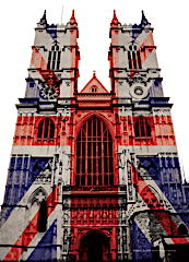The West Front of Westminster Abbey with Union Jack projection.