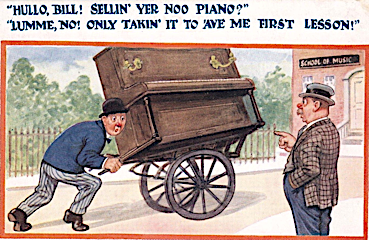 Cartoon of man taking his piano on a cart to his first piano lesson.